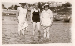 mum and grandma paddling